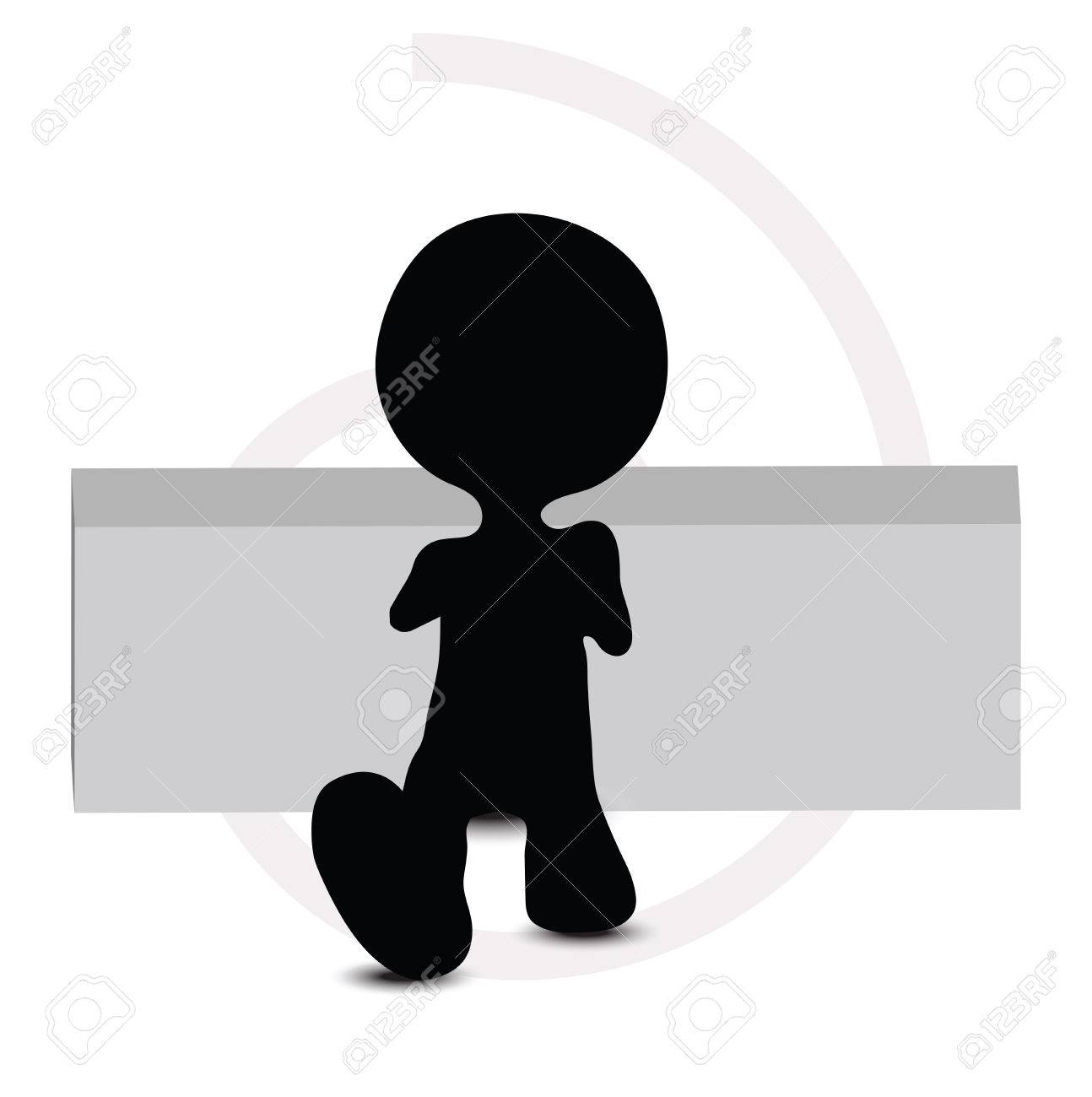 3d man in sitting pose Stock Vector - 29985145