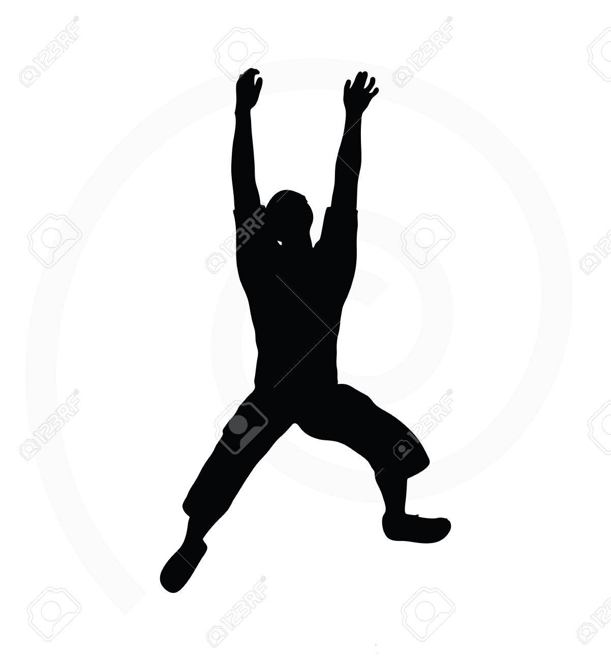 man silhouette isolated on white background in hanging pose stock