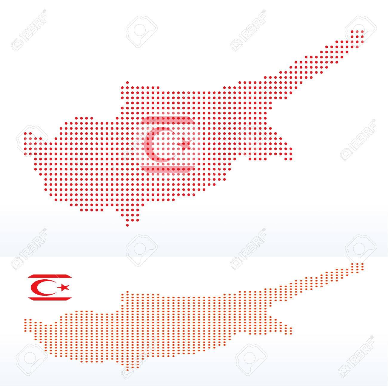 Imagen Vectorial - Mapa De República Turca Del Norte De Chipre Con ...