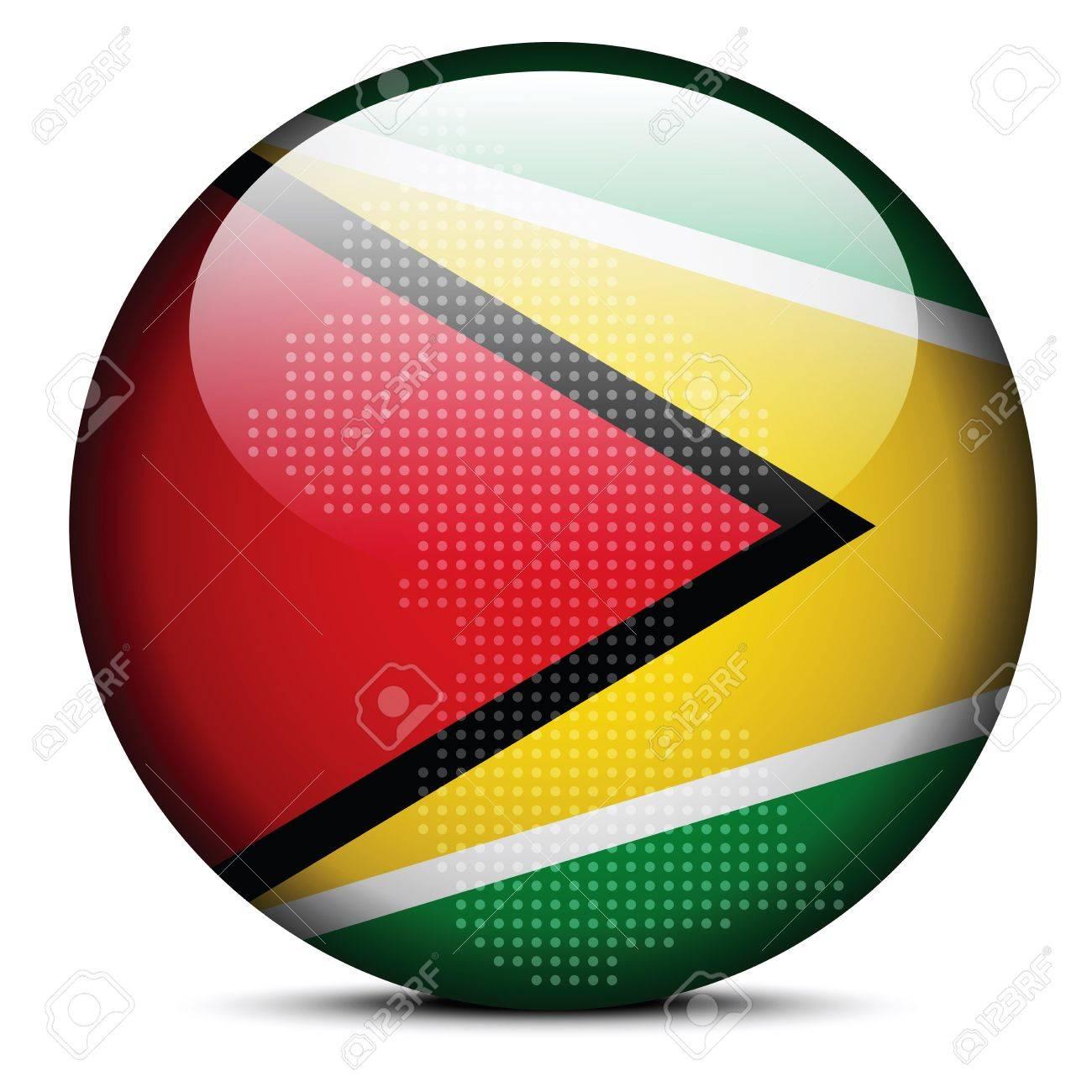 ベクトル画像 - ガイアナ協同共和国の旗ボタンをドット パターンで ...