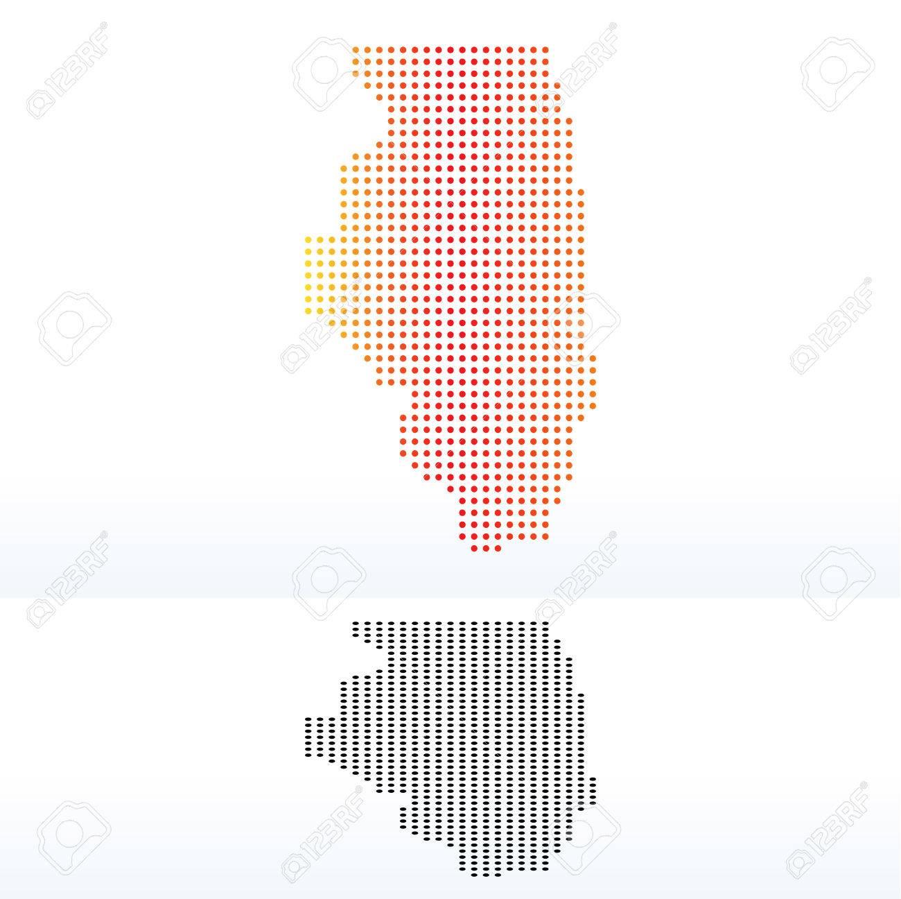 Vector Image - Map of USA Illinois State with Dot Pattern on detroit map usa, the word usa, hispanic population map usa, new york on map of usa,