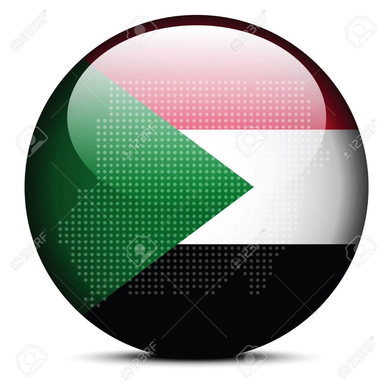 Vector Image Map With Dot Pattern On Flag Button Of Republic - Republic of the sudan map