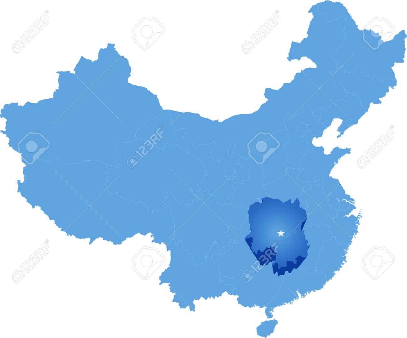Carte Chine Hunan.Carte De La Republique Populaire De Chine Ou La Province Du Hunan