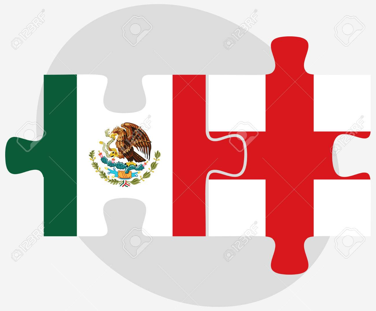 mexico and england flags in puzzle isolated on white background