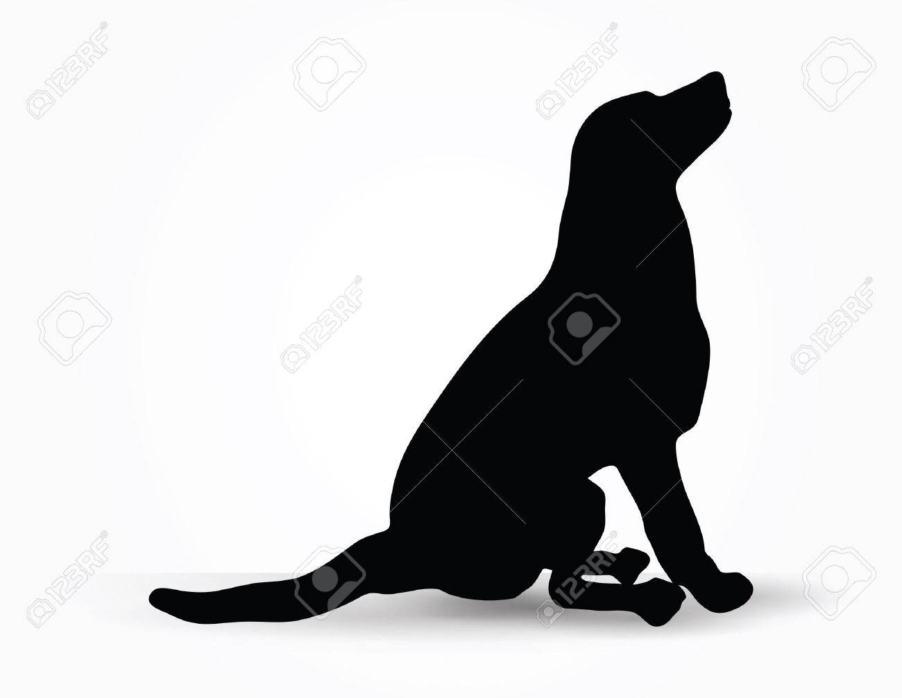 vector image dog silhouette in default pose isolated on white