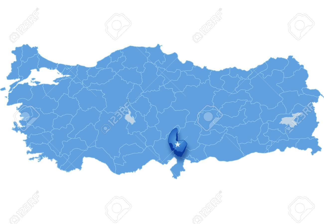 Map Of Turkey Where Osmaniye Province Is Pulled Out Isolated