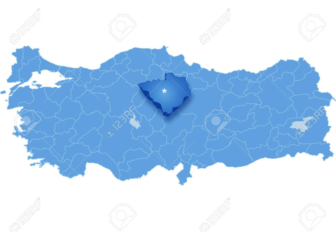 Map Of Turkey Where Yozgat Province Is Pulled Out Isolated On