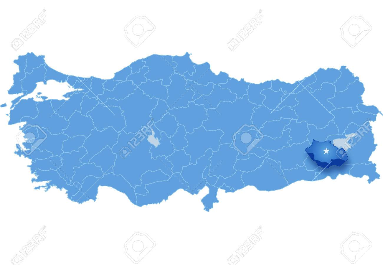 Map Of Turkey Where Siirt Province Is Pulled Out Isolated On White