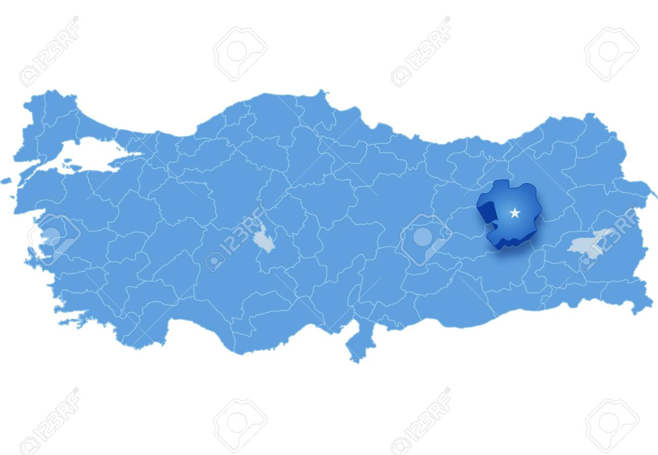 Map Of Turkey Where Bingol Province Is Pulled Out Isolated On