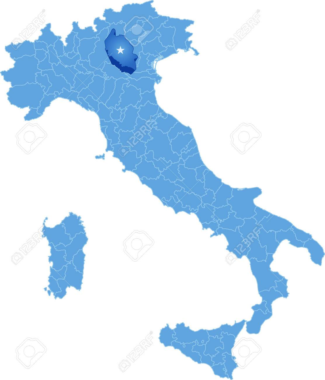 Karte Von Italien Wo Der Provinz Verona Herausgezogen Wird