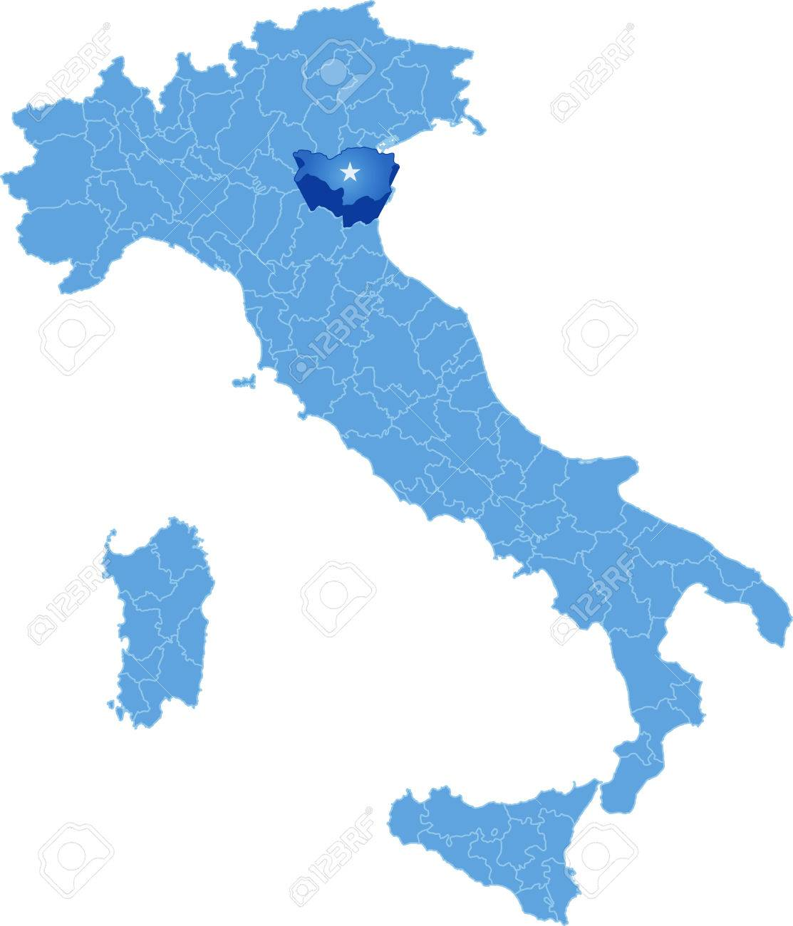 Map Of Italy Where Ferrara Province Is Pulled Out Isolated On