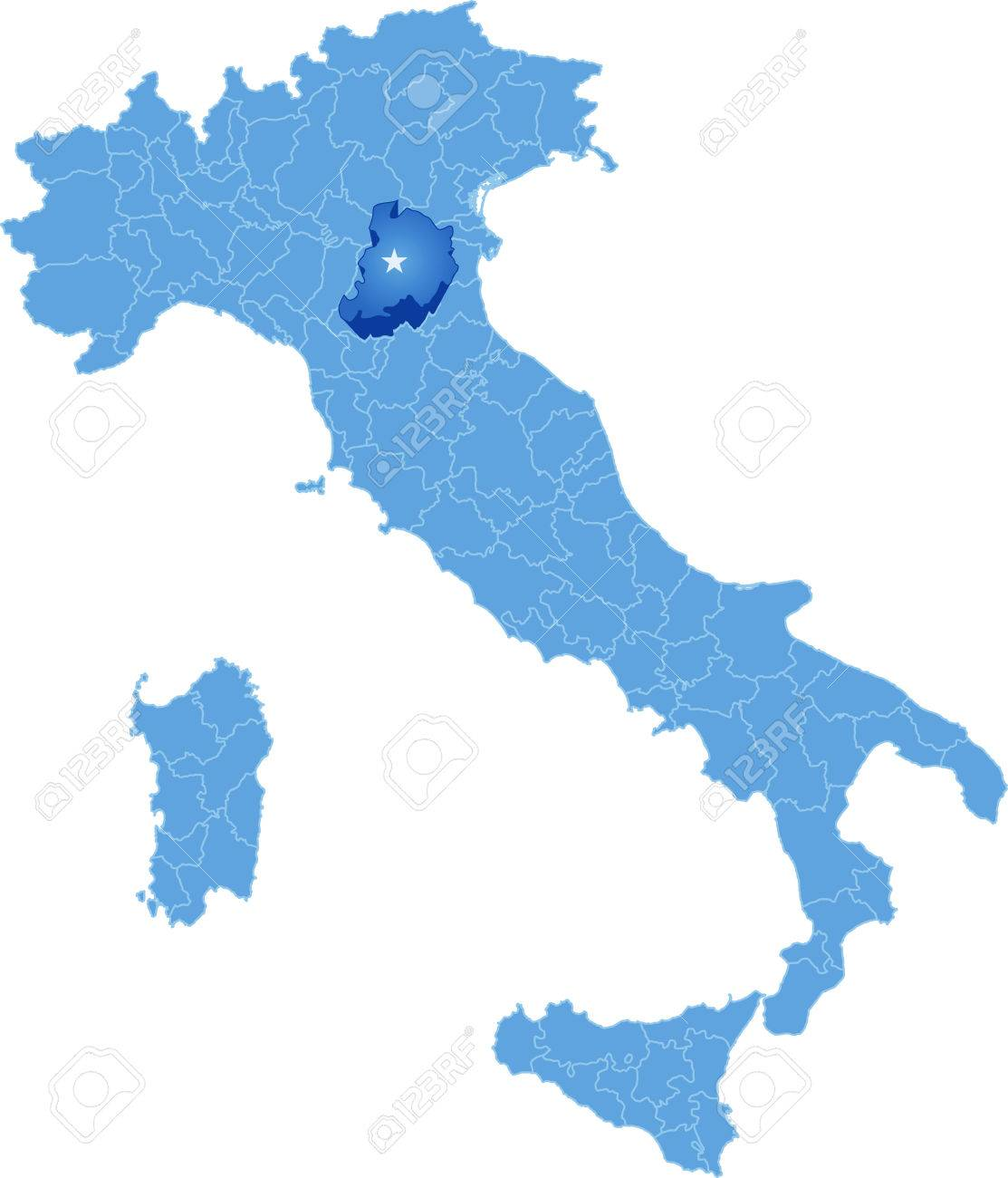 Map Of Italy Where Bologna Province Is Pulled Out Isolated On