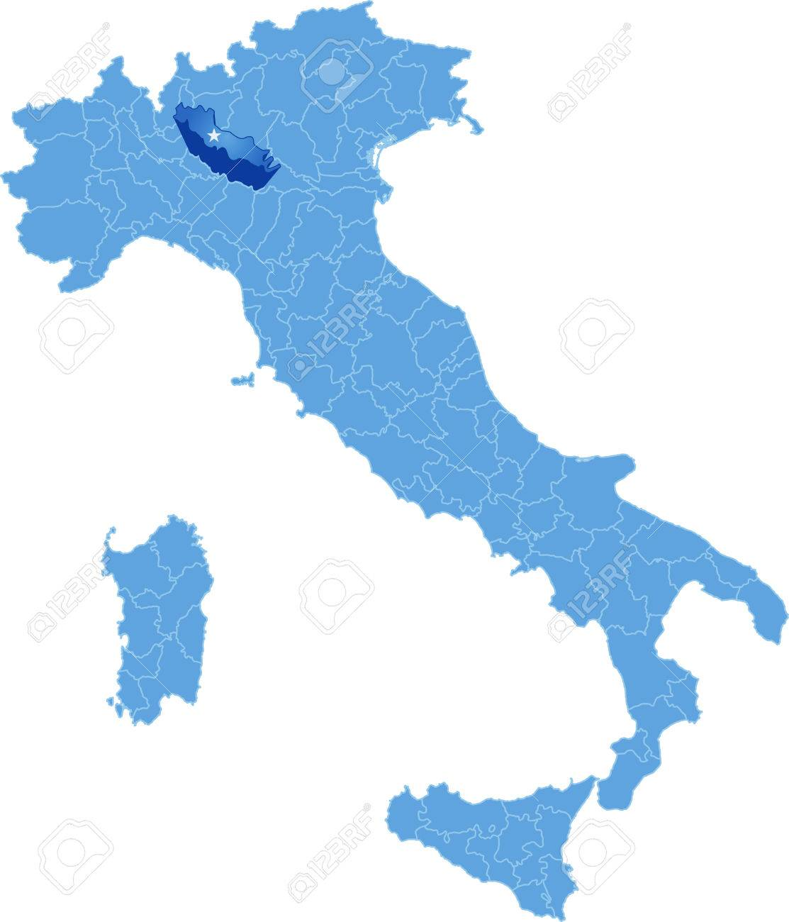 Map Of Italy Where Cremona Province Is Pulled Out Isolated On