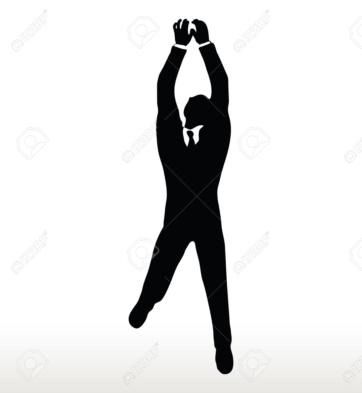 illustration in silhouette of businessman hanging royalty free