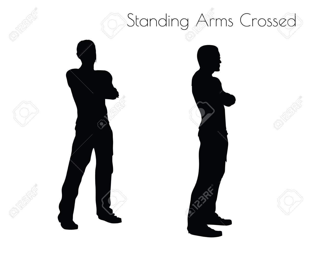 白い背景の上に立って腕組みで男の Eps 10 ベクトル イラスト ポーズし