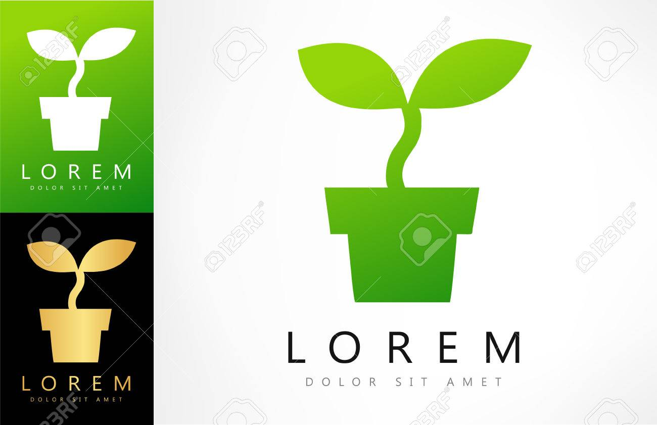 Potted Plant Vector Design With Business Card Template Editable. Stock  Vector   62514414  Editable Leaf Template