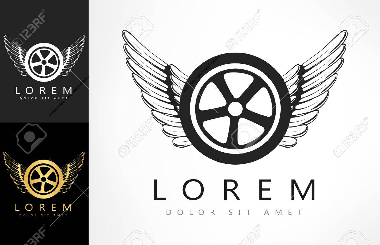 wings and tire logo vector illustration royalty free cliparts