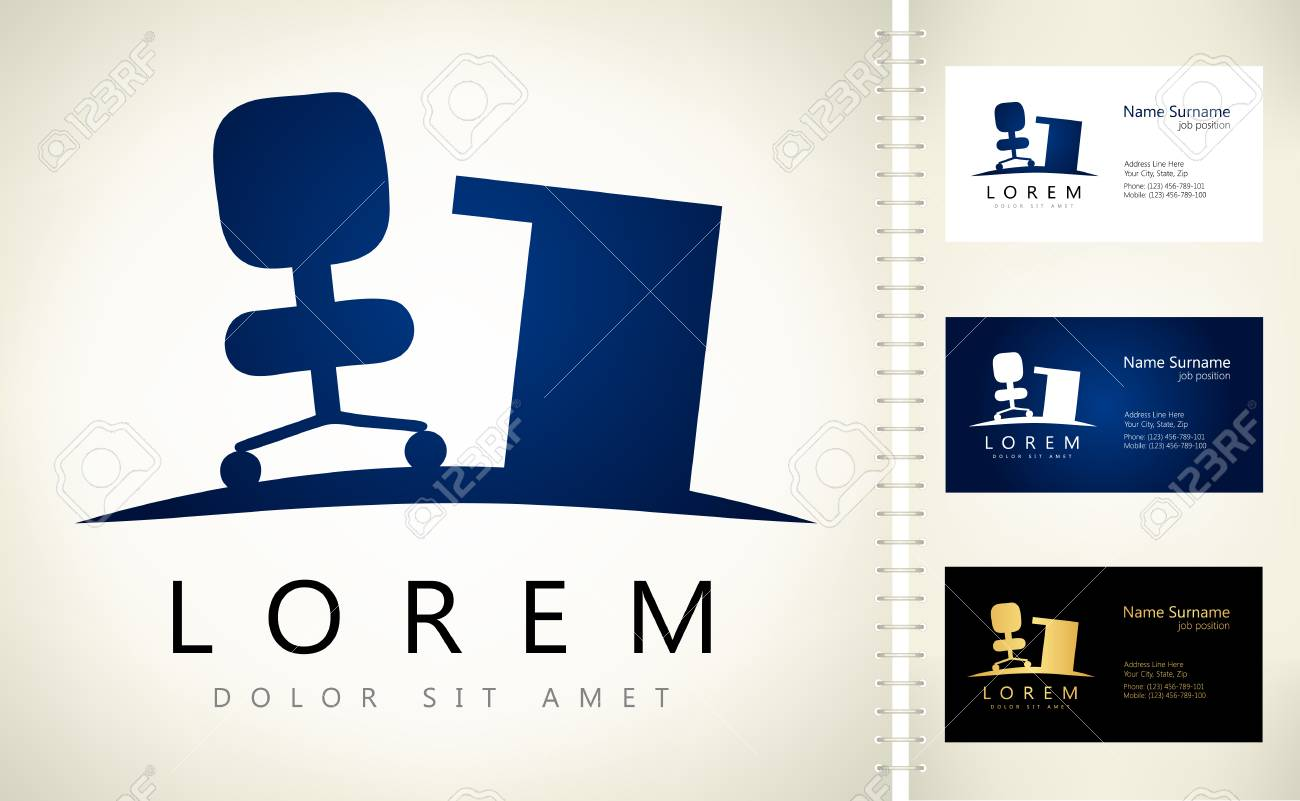 Office furniture chair and desk vector design with business card office furniture chair and desk vector design with business card template editable stock vector cheaphphosting Gallery