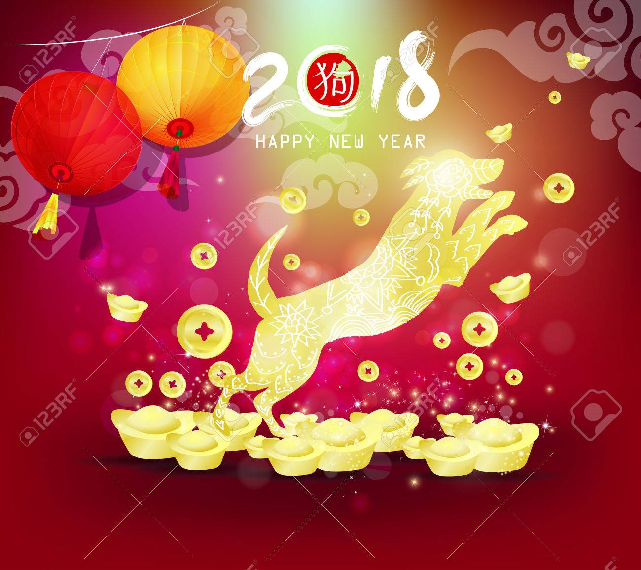 happy new year 2018 chinese new year of the dog with gold background stock vector