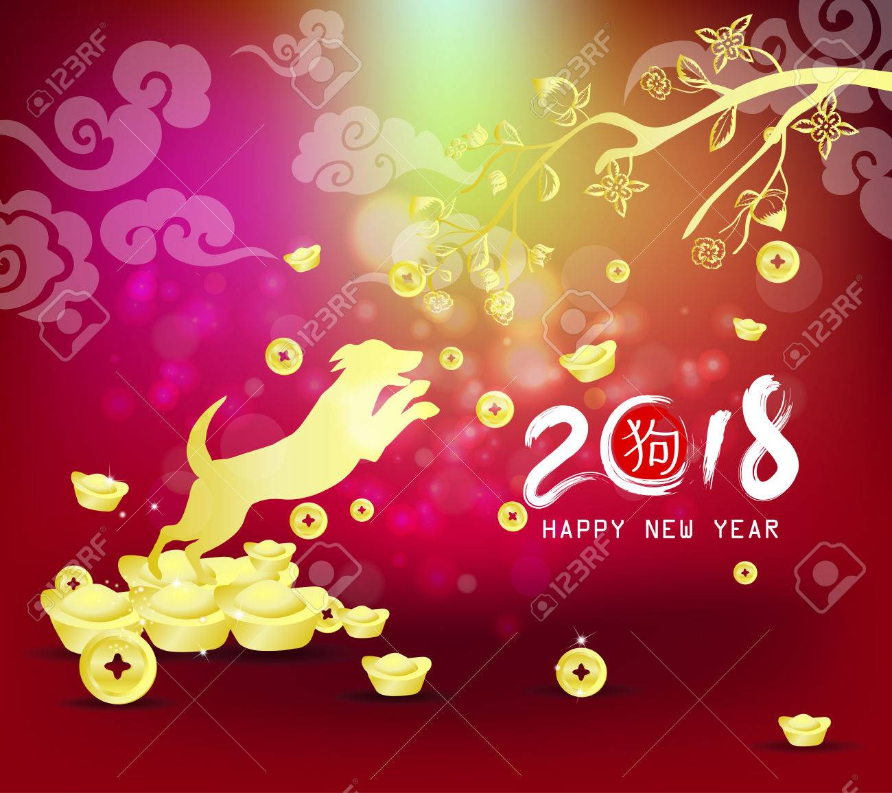 happy new year 2018 chinese new year of the dog with gold background stock