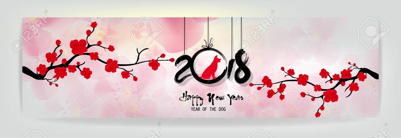 set banners happy new year 2018 greeting card and chinese new year of the dog