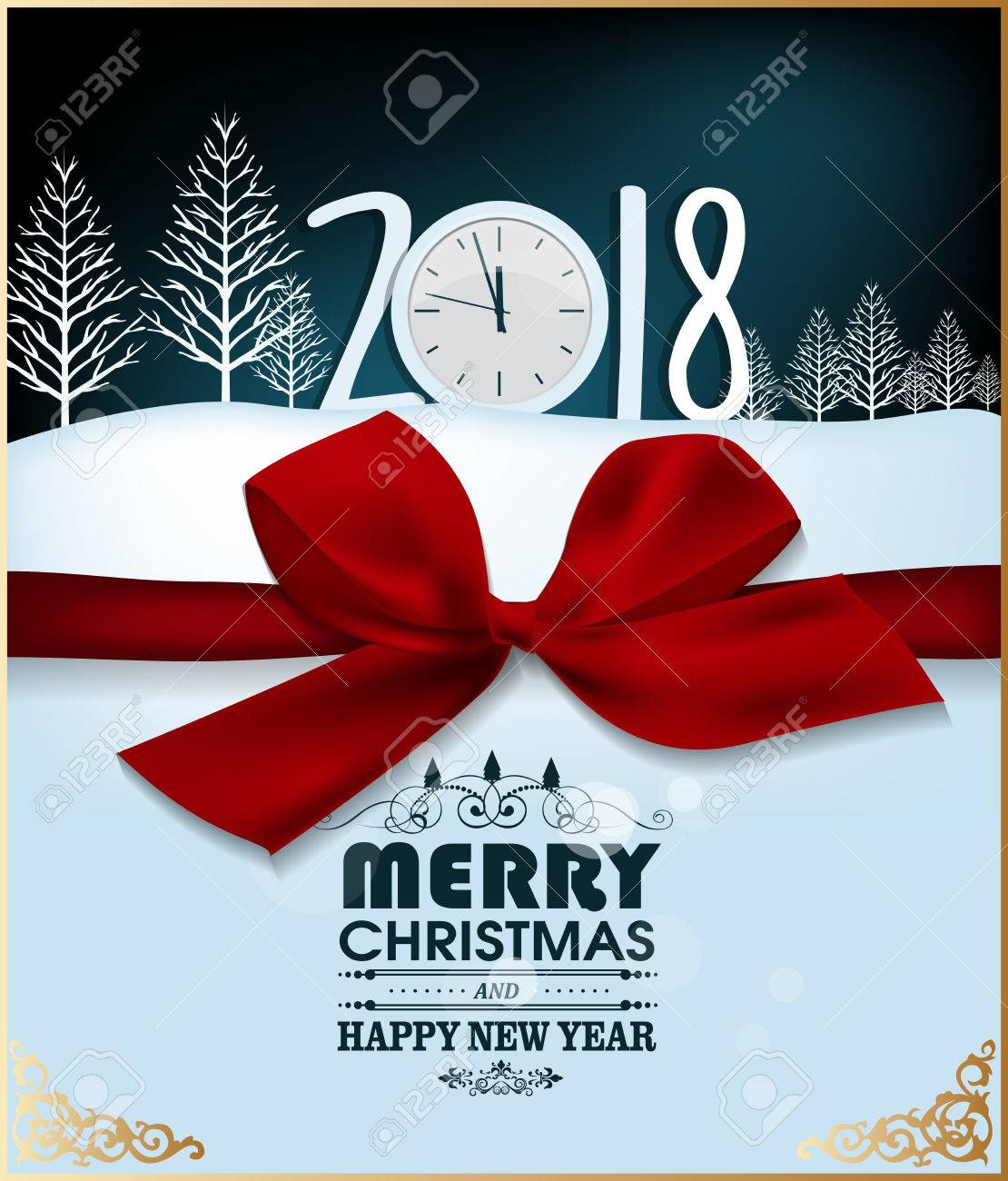 happy new year 2018 greeting card and merry christmas stock vector 87874142