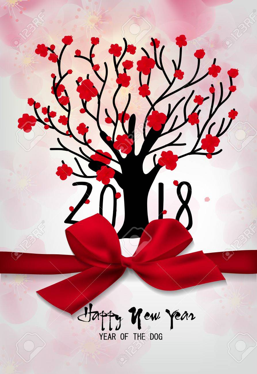 Happy new year 2018 greeting card and chinese new year of the happy new year 2018 greeting card and chinese new year of the dog cherry blossom m4hsunfo
