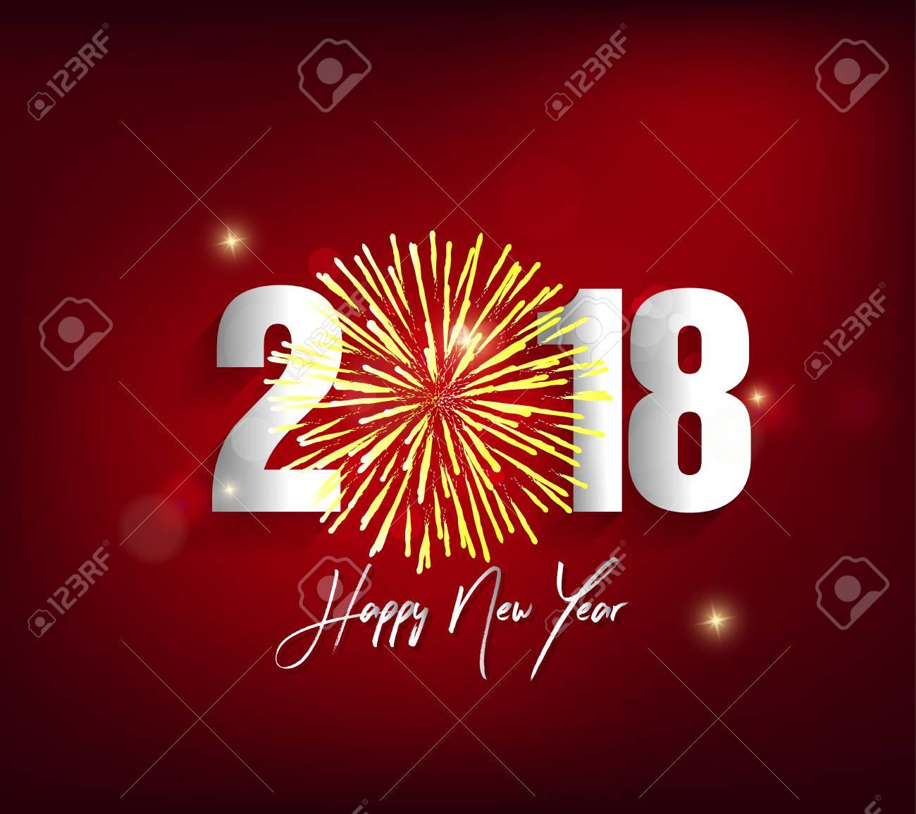 Happy New Year 2018 Greeting Card Design Royalty Free Cliparts