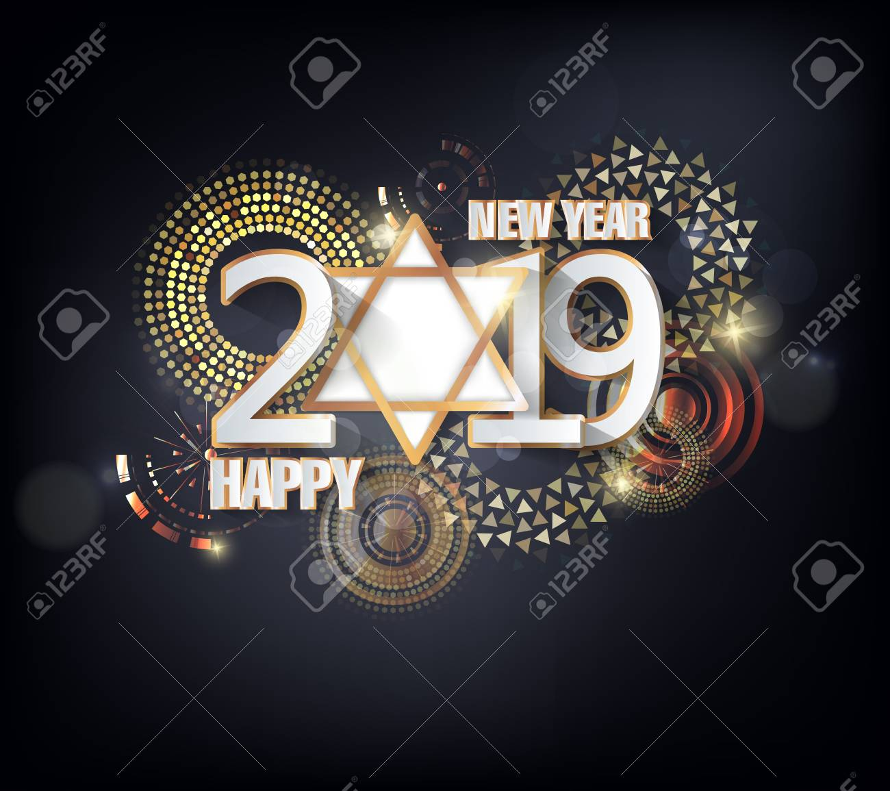 Happy new year 2019. Chinese new year. Year of the pig - 105343812