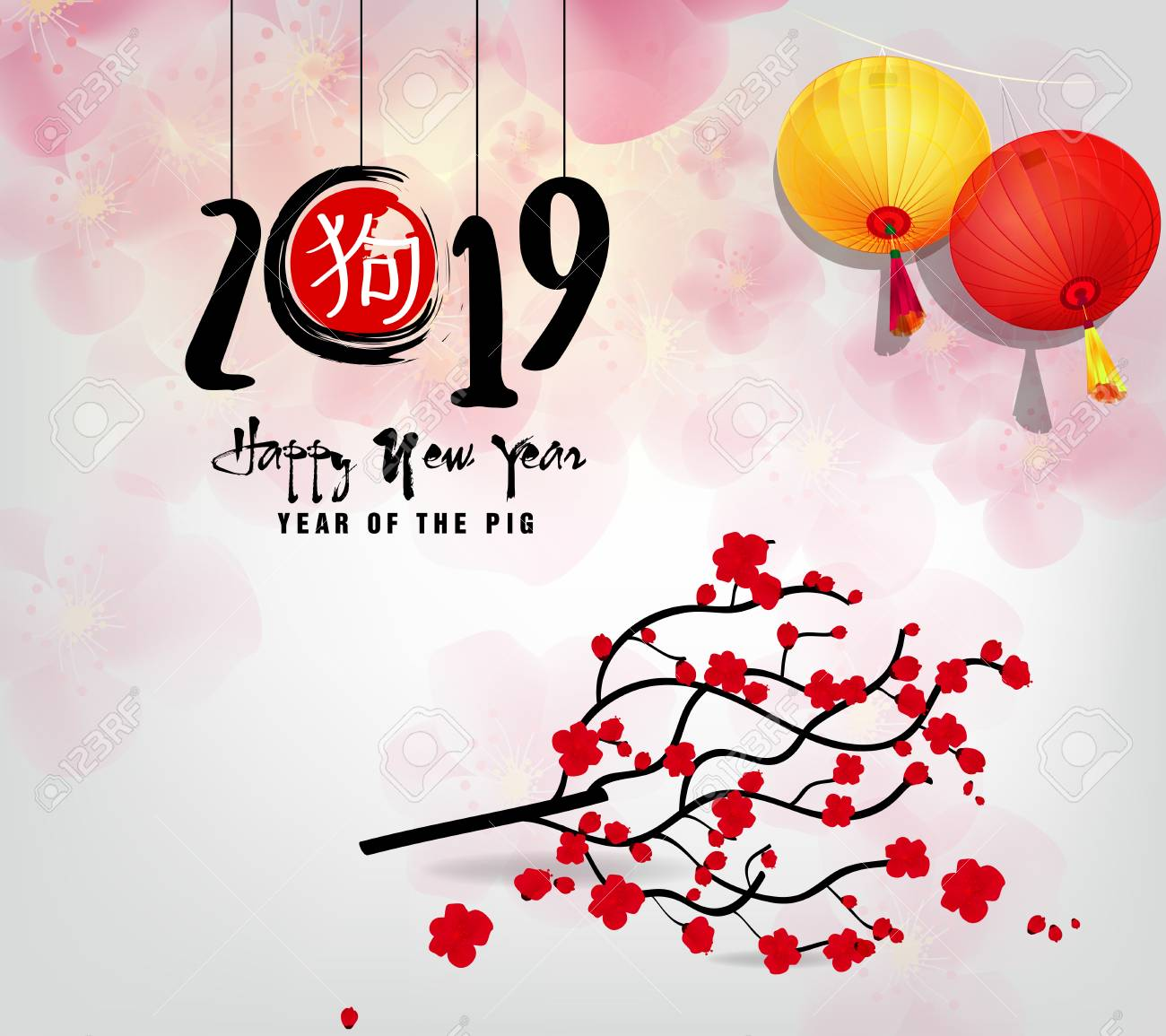happy new year 2019 chinese new year year of the pig stock vector