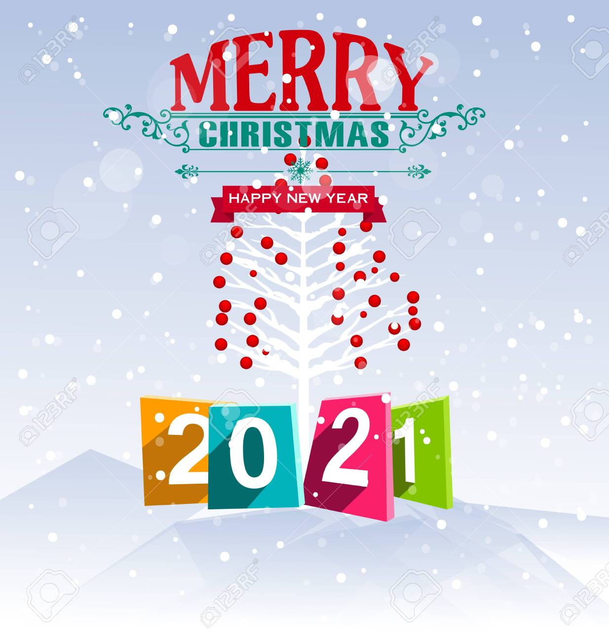 Merry Christmas 2021 Clipart Happy New Year And Merry Christmas 2021 Royalty Free Cliparts Vectors And Stock Illustration Image 144438670