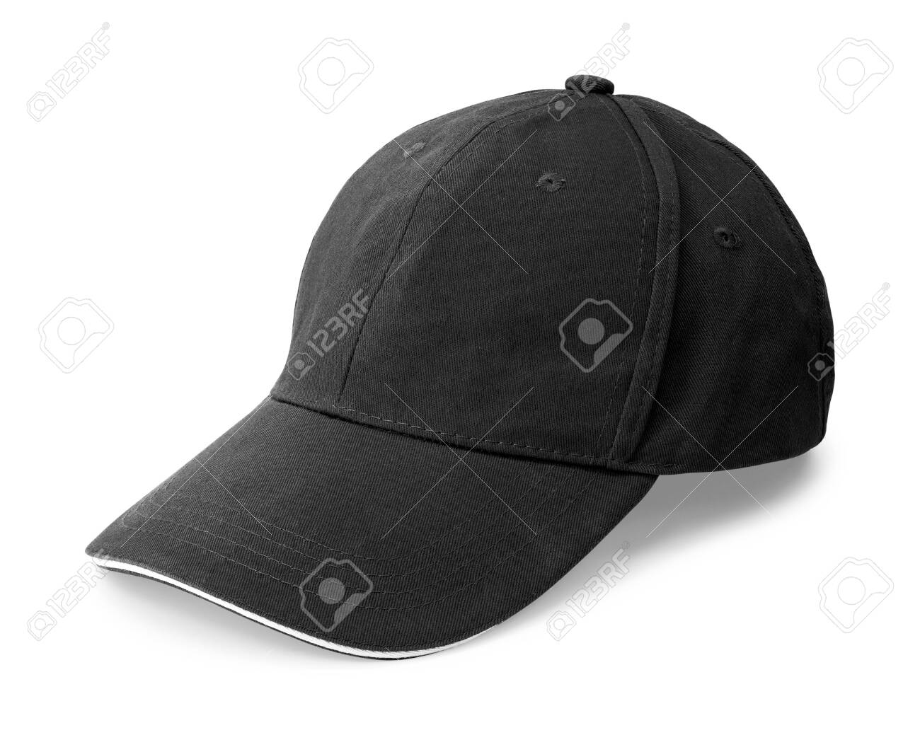 Black cap isolated on white background. Template of baseball cap in side view. ( Clipping path ) - 120326452