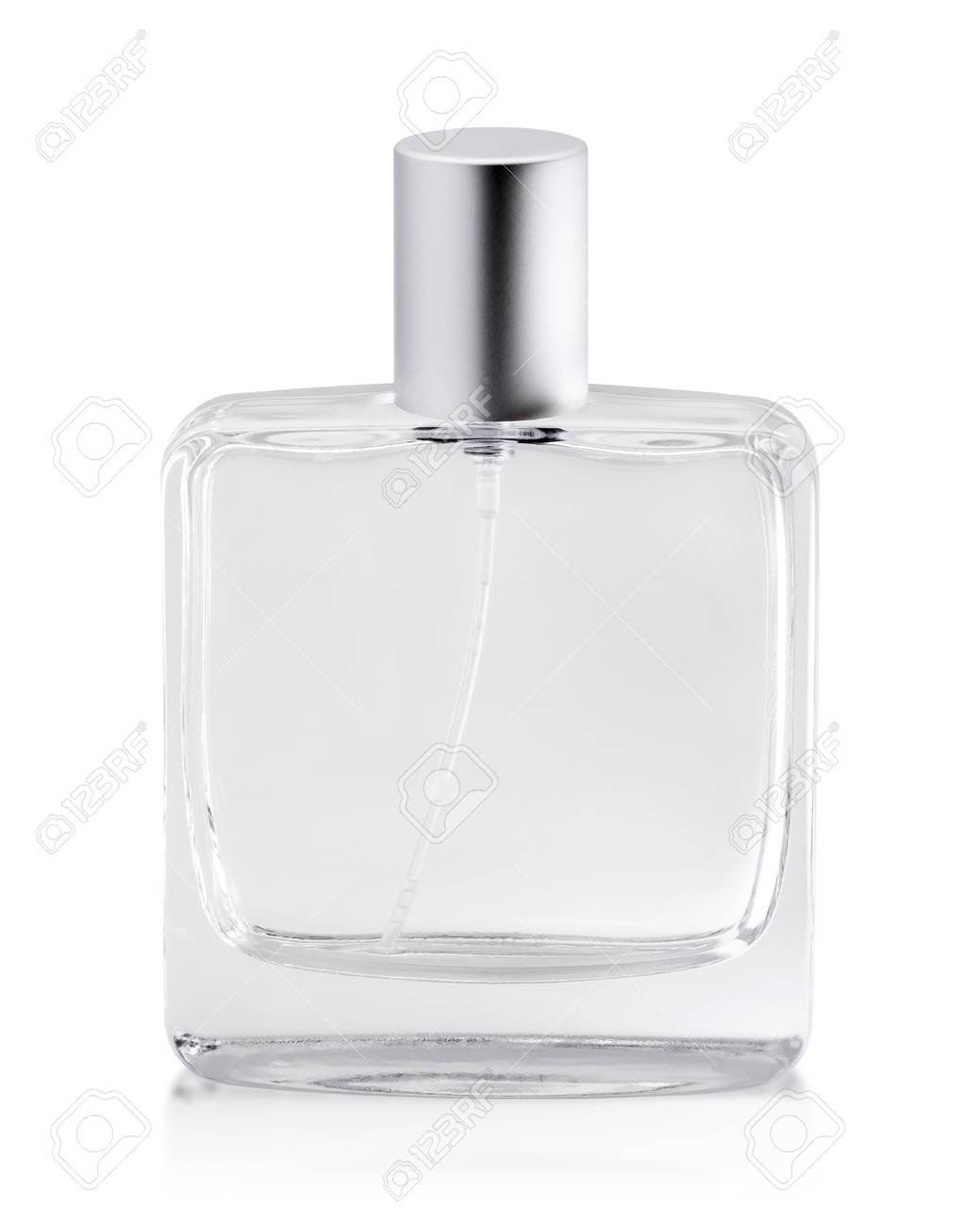 Empty perfume bottle isolated on white background. Scent container with tube. ( Clipping path object ) - 120123217