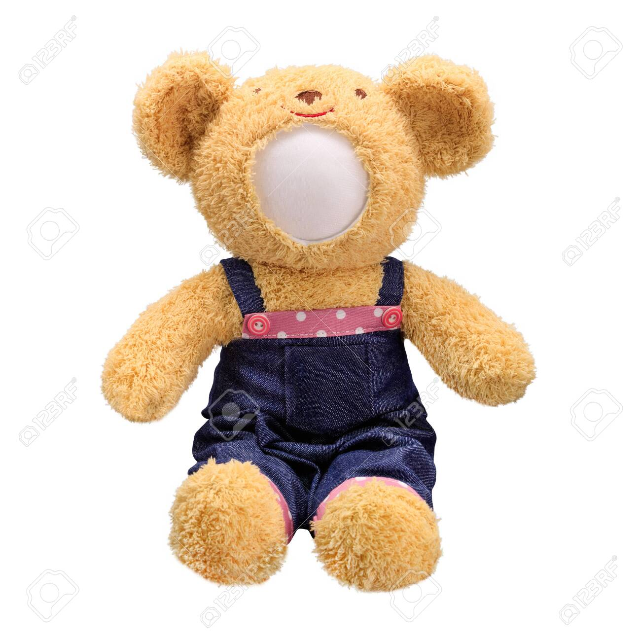 Teddy bears doll isolated on white background. Bear's doll in blue jeans uniform. Blank face toy for design. - 120142842