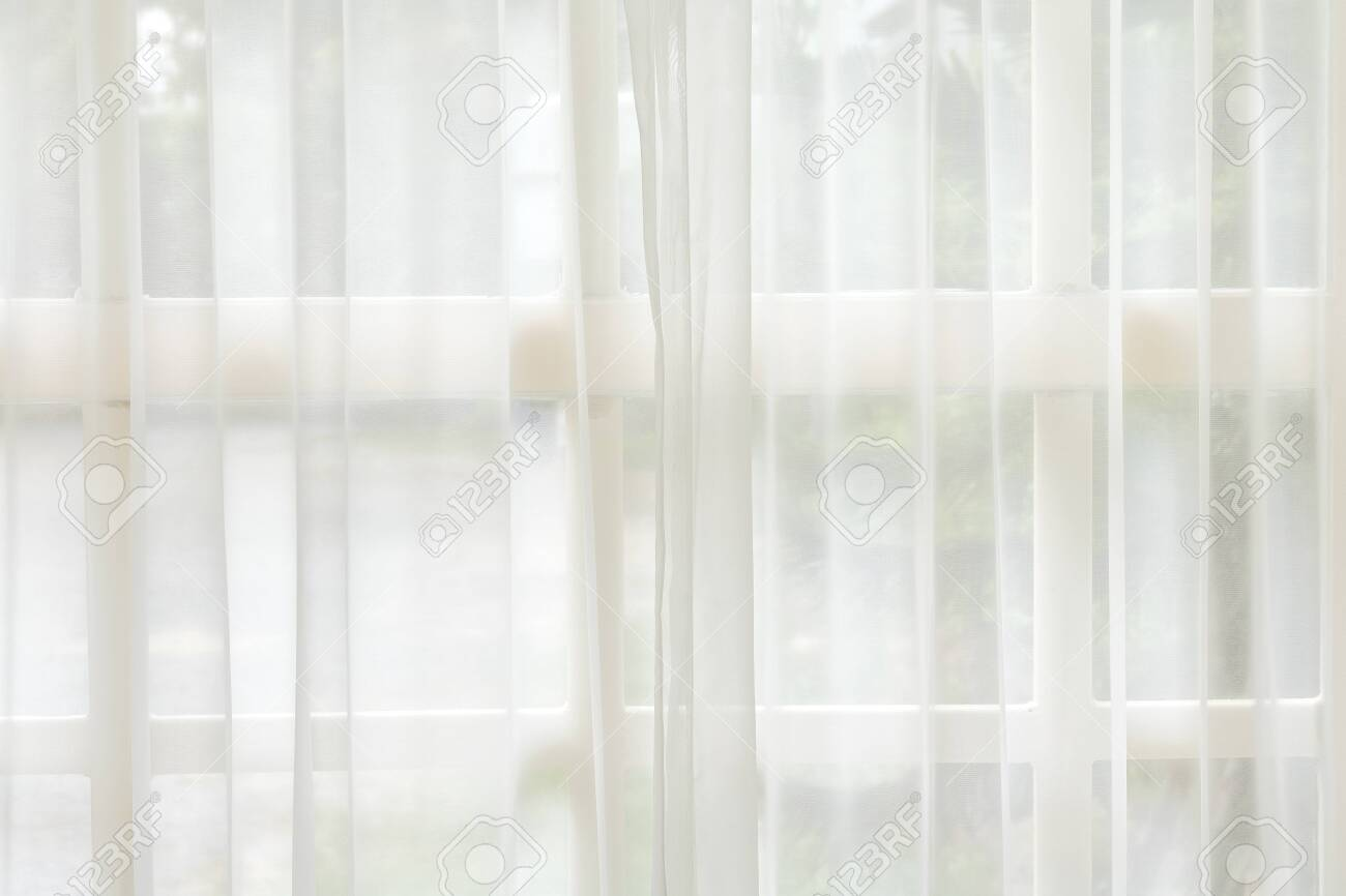 White curtain and window background. Morning backdrops. - 120142852