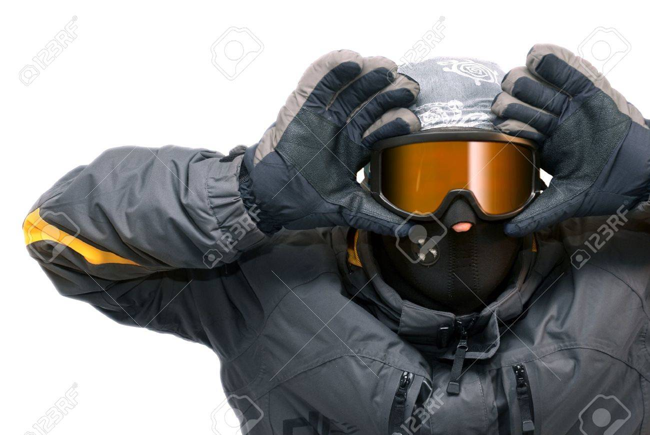 Portrait of guy in snowboard goggles, isolated Stock Photo - 8980201
