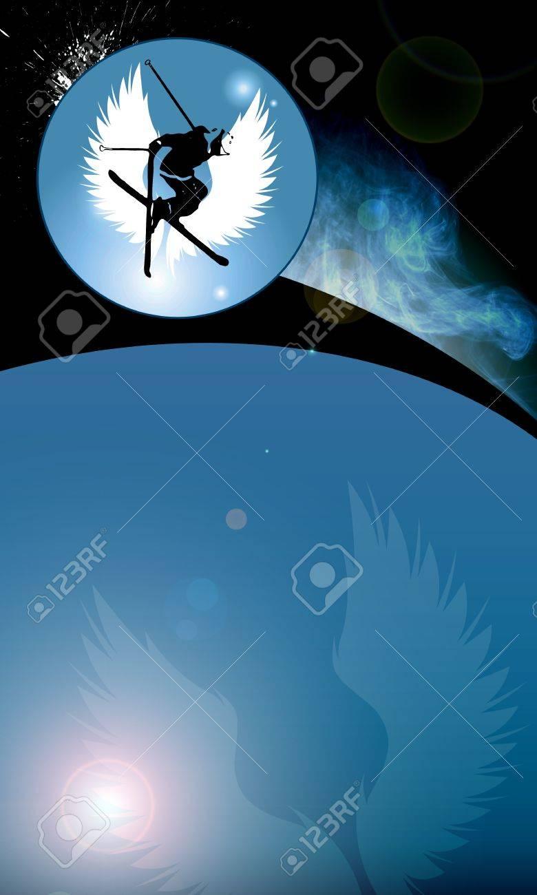 Ski jumping background with space (poster, web, leaflet, magazine) Stock Photo - 14031528