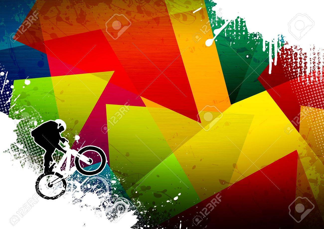 Abstract grunge BMX jumping sport background with space Stock Photo - 14185307