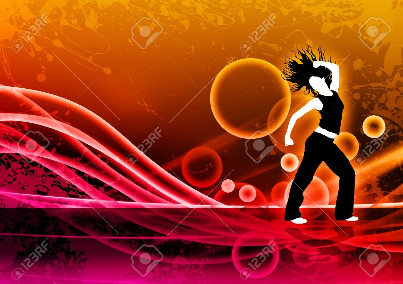 Abstract Color Zumba Fitness Dance Background With Space Stock Photo