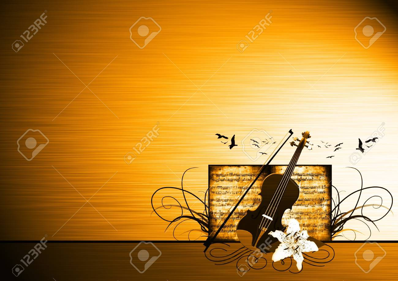 abstract color violin music bacground with space stock photo