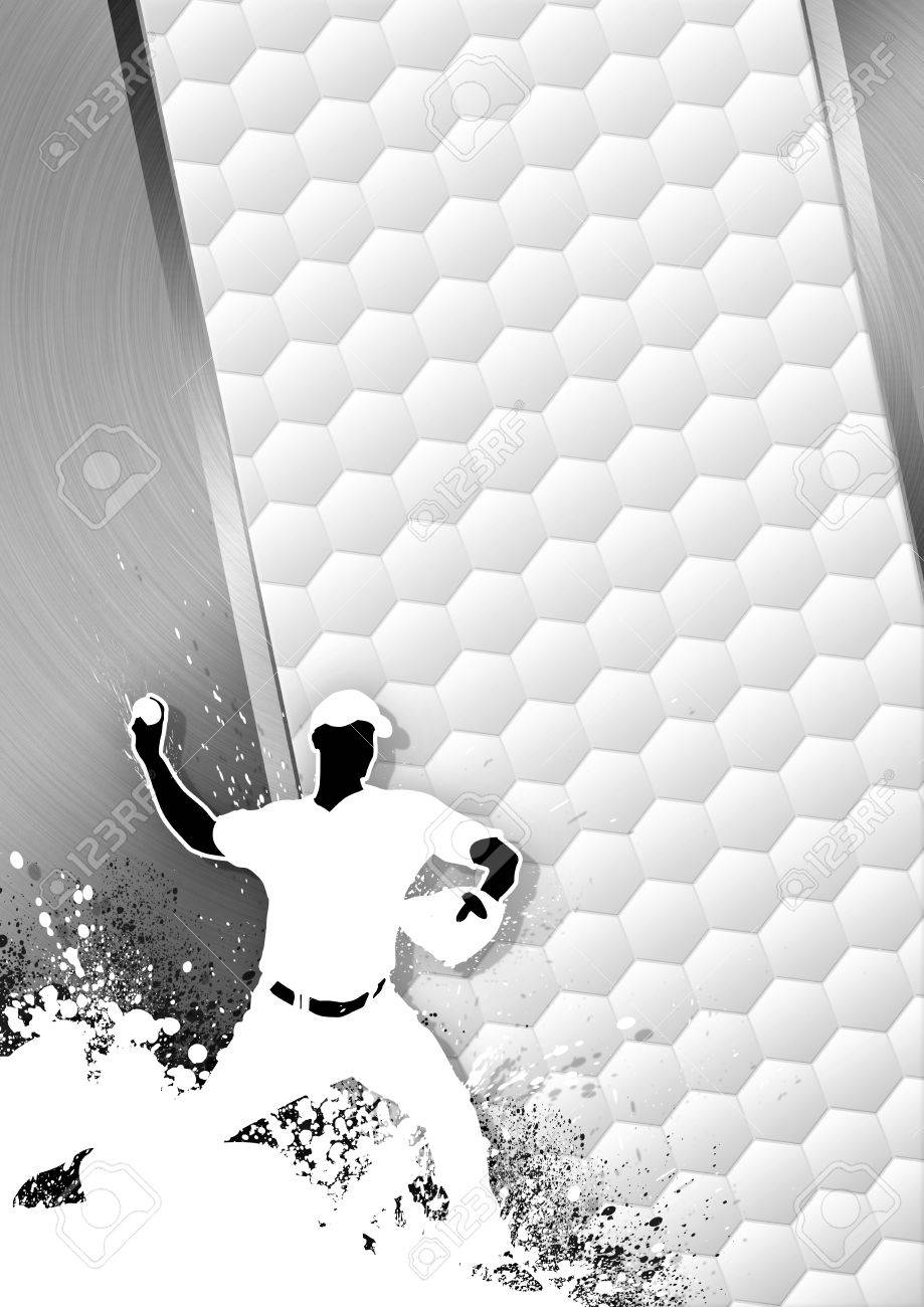 Sport poster: Baseball player gray background with space Stock Photo - 15469388
