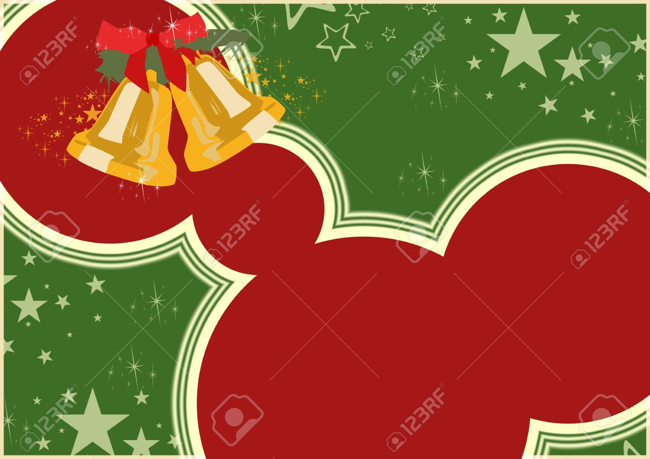 Merry Christmas Poster: Bells And Stars Background With Space ...