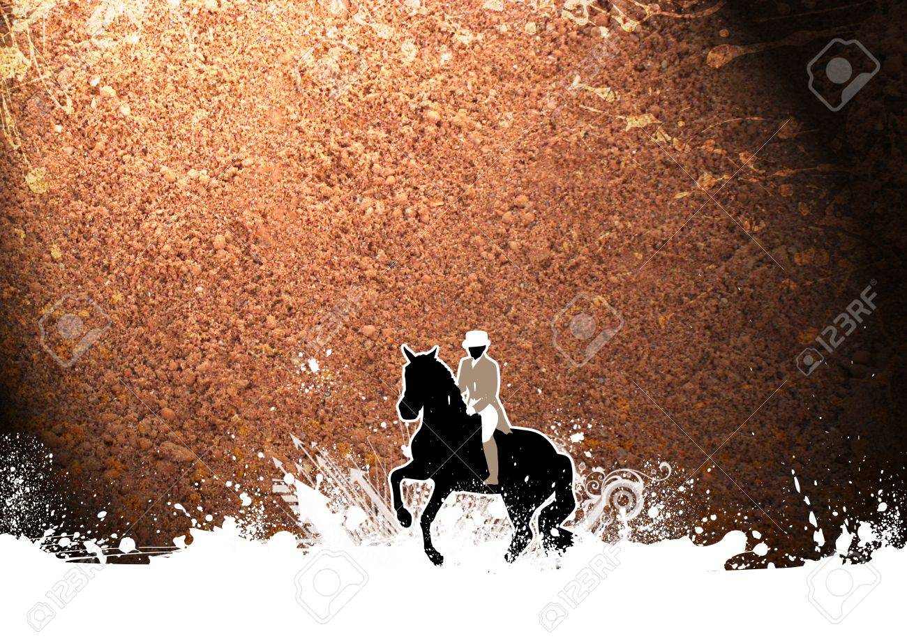 Abstract grunge horse jumping sport background with space Stock Photo - 17211240