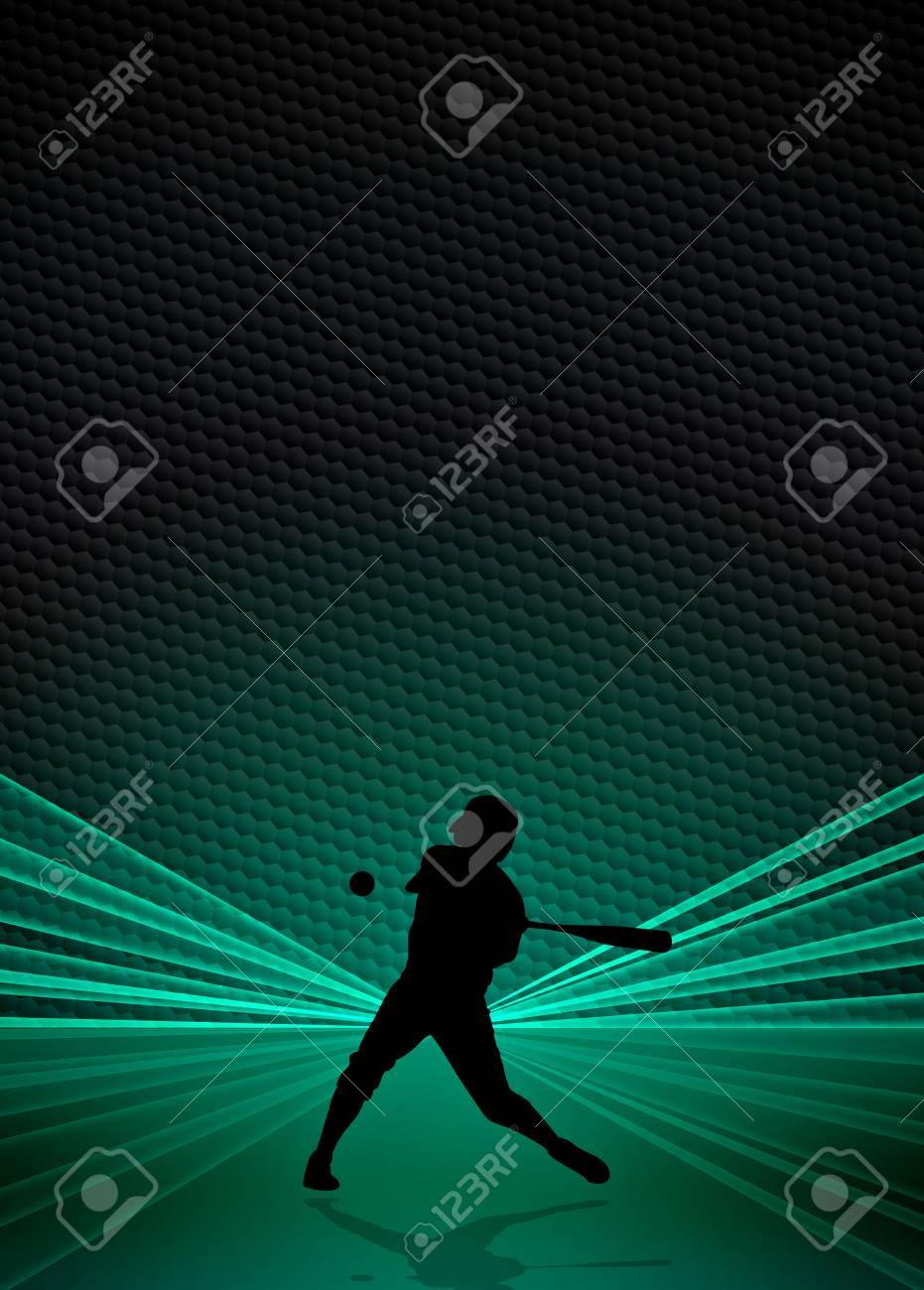 Sport business poster: Baseball player background with space Stock Photo - 18380178