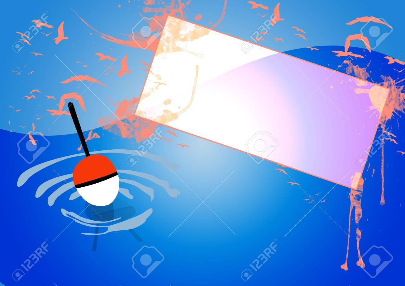 Float on the water fishing poster background with space Stock Photo - 18379986
