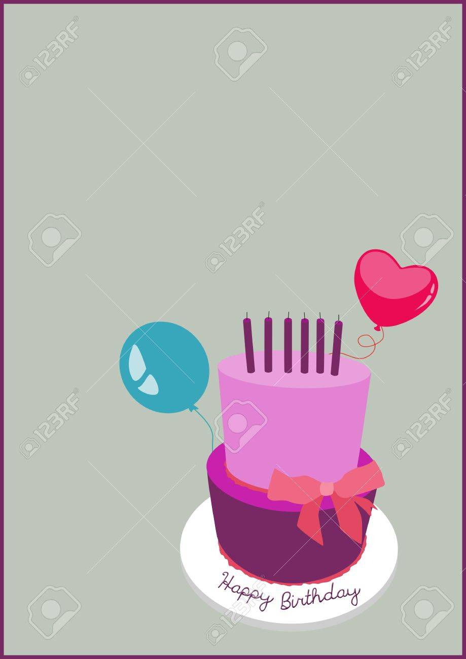 birthday cake invitation card background with space stock photo