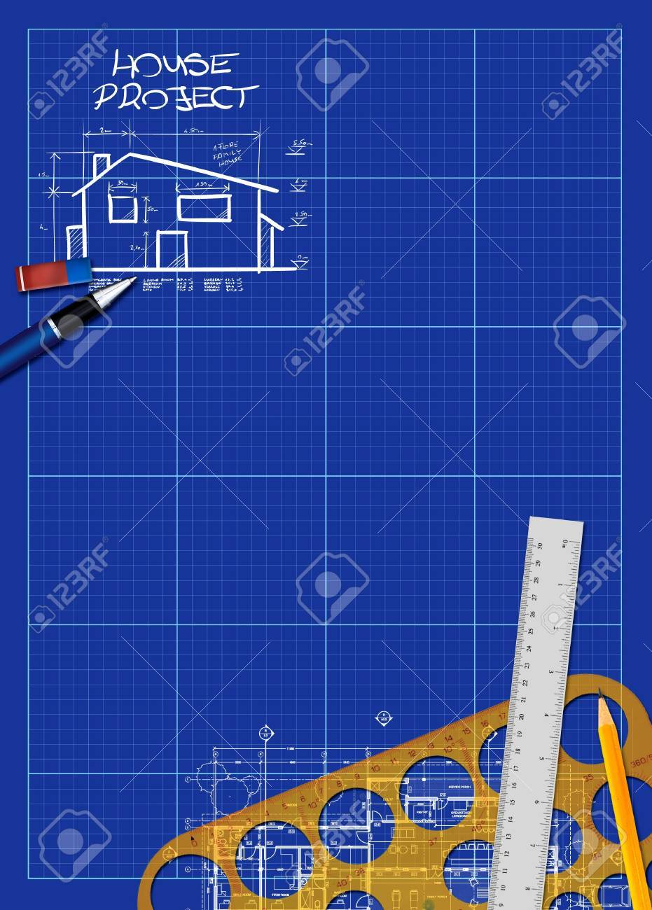 Abstract House Blueprint Poster Background With Space Stock Photo   18855543