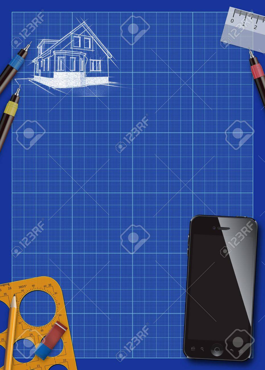 House project plan and smart phone poster or flyer background with space Stock Photo - 19115757