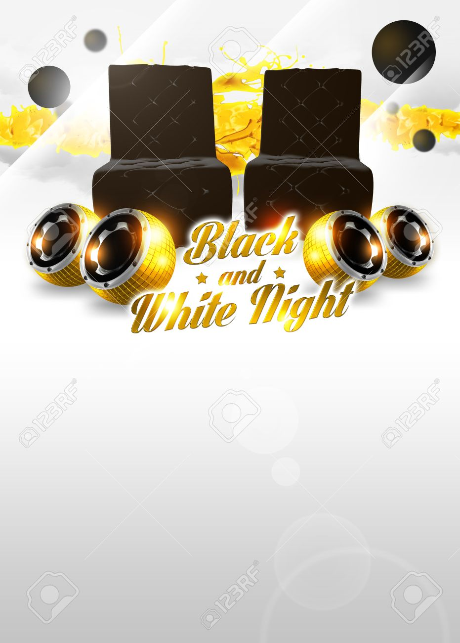 abstract black and white party poster background with space stock