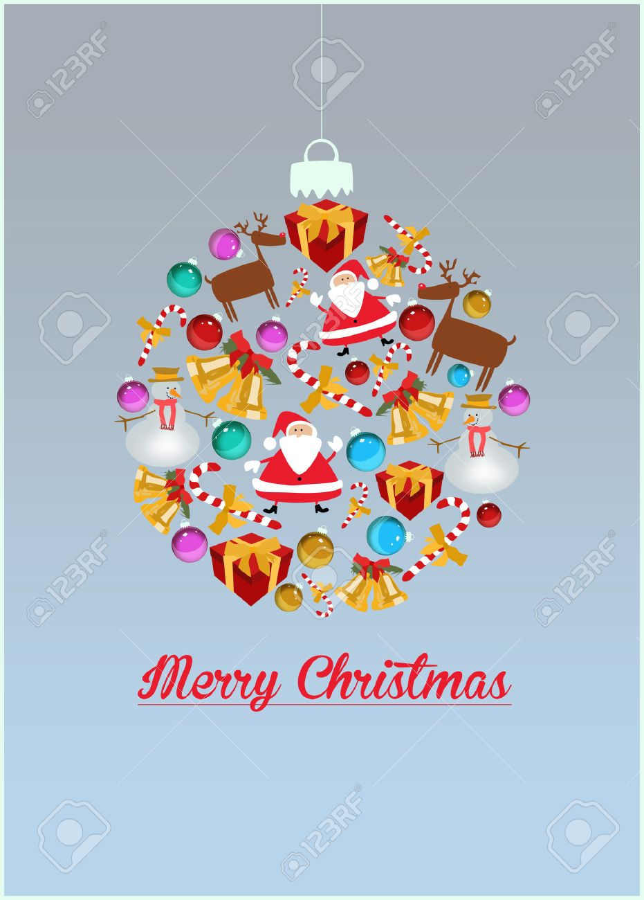 Merry Christmas Decoration Poster Or Flyer Background With Space ...